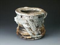 Drum-shaped vase, shino